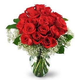 25 adet kırmızı gül cam vazoda  Adana çiçekçiler çiçek , çiçekçi , çiçekçilik
