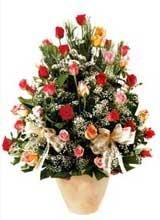 91 adet renkli gül aranjman   Adana çiçek yolla çiçek gönderme sitemiz güvenlidir