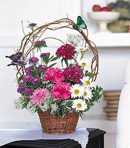 Adana cicekciler , cicek siparisi  sepet içerisinde karanfil gerbera ve kir çiçekleri