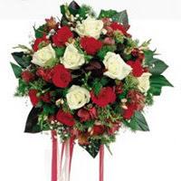 Adanaya çiçek ucuz çiçek gönder  6 adet kirmizi 6 adet beyaz ve kir çiçekleri buket