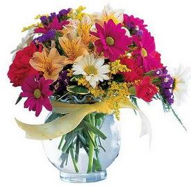 Adana internetten çiçek satışı  cam yada mika içerisinde karisik mevsim çiçekleri