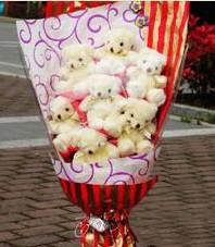 11 adet pelus ayicik buketi  Adanaya çiçek ucuz çiçek gönder