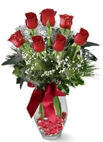 Adana internetten çiçek siparişi  7 adet kirmizi gül cam vazo yada mika vazoda