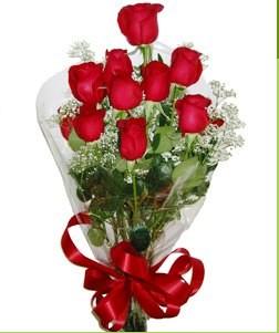 Adana uluslararası çiçek gönderme  10 adet kırmızı gülden görsel buket
