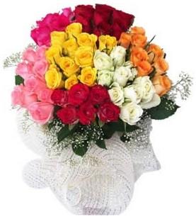 Adanadaki çiçekçiler çiçekçi telefonları  51 adet farklı renklerde gül buketi