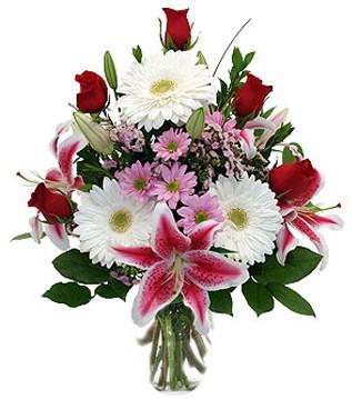 Adana çiçek mağazası , çiçekçi adresleri  1 dal kazablanka 5 gül ve kırçiçeği vazosu