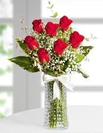 Cam vazoda 7 adet kırmızı gül  Adana çiçekçiler çiçek , çiçekçi , çiçekçilik