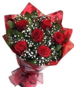 6 adet kırmızı gülden buket  Adana yurtiçi ve yurtdışı çiçek siparişi