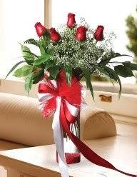 Camda 5 kırmızı gül tanzimi  Adanadaki çiçekçiler çiçekçi telefonları