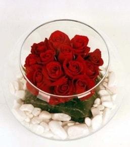 Cam fanusta 11 adet kırmızı gül  Adana çiçek siparişi çiçek gönderme