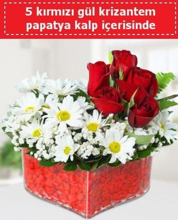 mika kalp içerisinde 5 kırmızı gül papatya  Adana çiçek siparişi çiçek gönderme