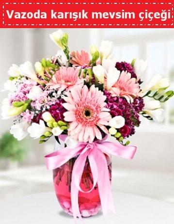 Vazoda karışık mevsim çiçeği  Adana çiçekçiler çiçek , çiçekçi , çiçekçilik