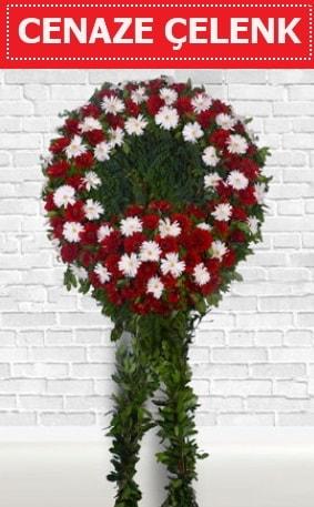Kırmızı Beyaz Çelenk Cenaze çiçeği  Adana çiçekçi İnternetten çiçek siparişi