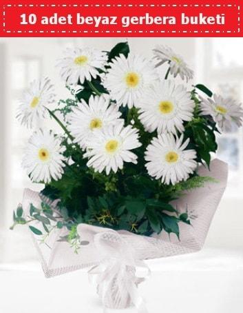 10 Adet beyaz gerbera buketi  Adana çiçekçiler çiçek , çiçekçi , çiçekçilik